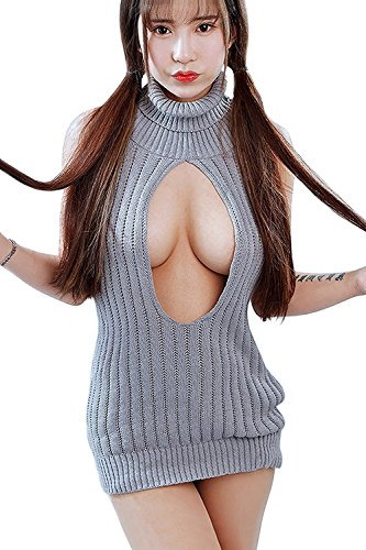 Lucky2Buy Women's Sexy Virgin Killer Sleeveless Open Back Anime Cosplay Sweater Turtle-neck Tied (Open Neck Sweater)