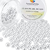 PandaHall Elite 8mm About 200Pcs Tiny Satin Luster Glass Pearl Round Beads Assortment Lot for Jewelry Making Round Box Kit White