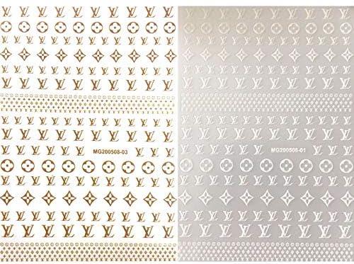 Nail Designer Luxury Nail Stickers Logo Nail Art Decals Nail Art Adhesive Sticker (2 Sheets)
