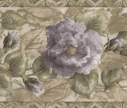 Purple Blooming Roses Green Floral Wallpaper Border Retro Design, Roll 15' x 7'' - Lavender Border