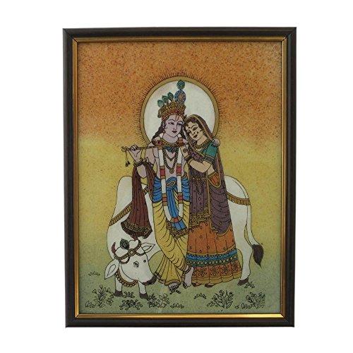 Gemstone Painting - Little India Divine Lovers Radha Krishna Gemstone Painting -138