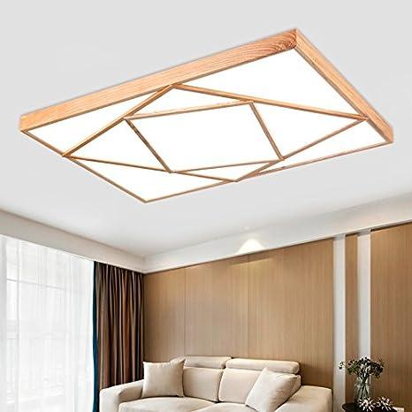 Cttsb Solid wood led ceiling lamp rectangular modern Japanese living ...