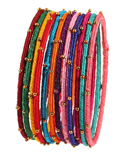 Touchstone New Silk Thread Bangle Collection Indian Bollywood Handcrafted Faux Silk Thread with Golden Beads Exotic Look Passionate Multi Color Designer Bangle Bracelets Set of 12 for Women. ()