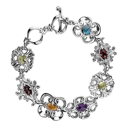 - Carolyn Pollack Sterling Silver Multi Birthstone Gemstone Link Bracelet Size Medium