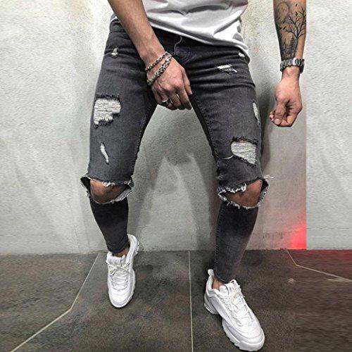 Jeans Skinny Largos Pantalones Cintura Delgados Fit Vaqueros Baja Elásticos Pantalones de de Slim Pitillo Vaqueros STRIR Gris Rotos de Mezclilla Pantalones Hombre t0wqII7f