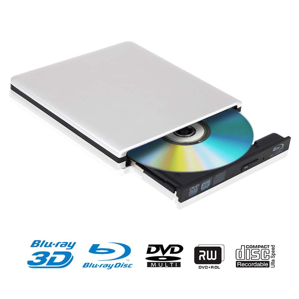 External 4K 3D Blu Ray DVD Drive, Portable USB 3.0 Blu Ray DVD Burner Player Reader Disk for Mac OS, Windows 7/8/10,Linxus, Laptop - Silver