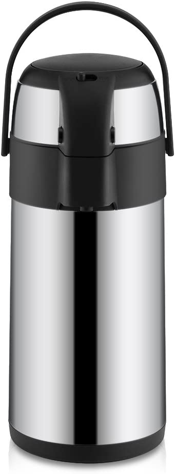 Coffee Insulation Pot,3 Liter,Stainless Steel,Vacuum Insulated Airpot Coffee Dispenser with Pump,Equipped with Safety Lock,Carry Handle for Home, Office Or Business Use 51242BAwa6SL