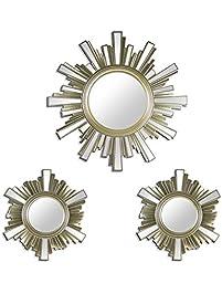 3 piece sunburst wall mirrors set