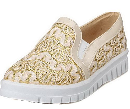 Shoes Pumps Round Pull Women's On Low Gold Heels Toe with Lace Solid AllhqFashion Closed vRnz6xxT