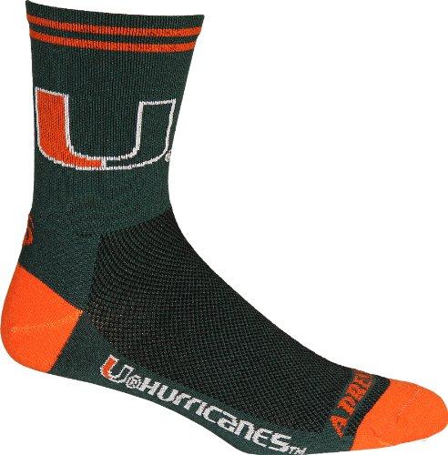 NCAA Miami Hurricanes Cycling/Running Socks, Green, Small/Medium ()