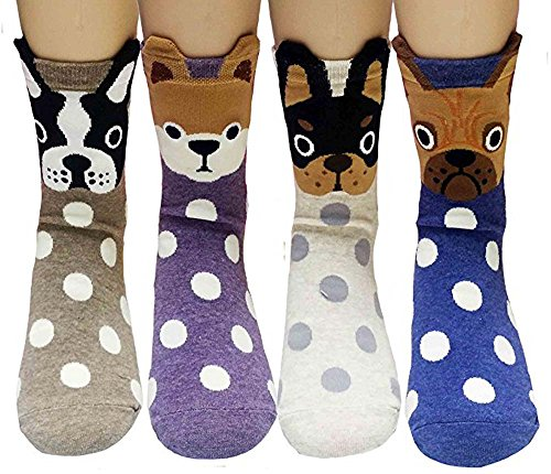 Womens Casual Socks - Cute Crazy Lovely Animal Dogs Pattern Good for Gift One Size Fits All My Pet 4 Pairs