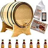 Outlaw Kit From American Oak Barrel - Make Your Own Honey Bourbon (5 Liter, Natural Oak With Black Hoops)