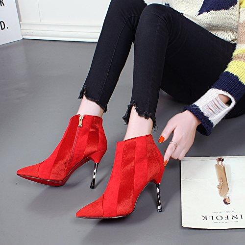 KHSKX-Botas Cortas Finos Tacones Botas De Invierno Botas De Gamuza De Algodon Costuras Tacones Rojo Zapatos De Boda gules