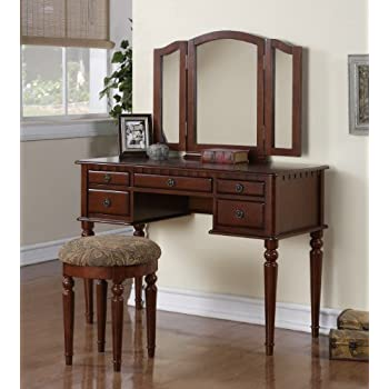 Amazon Com Tri Folding Mirror White Wood Vanity Set Make