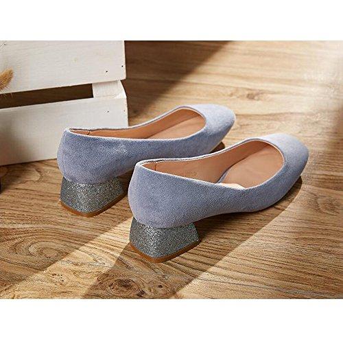 EU3 Poco Boca Tamaño Redonda Moda De Profunda Al De Pink Color Aire Tacón Cabeza Zapatos Azul YQQ Salvaje Libre Zapatos Zapatos Talón Medio Vendajes Primavera De Sandalias Individuales Grueso Mujer axwP5fpZq