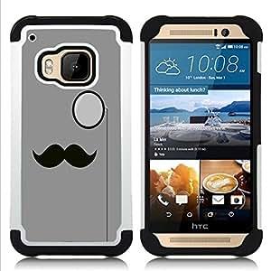 For HTC ONE M9 - moustache monocle hipster gray minimalist Dual Layer caso de Shell HUELGA Impacto pata de cabra con im??genes gr??ficas Steam - Funny Shop -