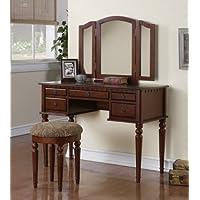 Tri Folding Mirror White Wood Vanity Set Make up Table Dresser W/stool 5 Drawers (Cherry)