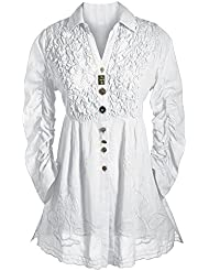 Parsley & Sage Womens Tunic Top - Button Down 3/4 Sleeve Collared Blouse