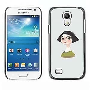LECELL--Funda protectora / Cubierta / Piel For Samsung Galaxy S4 Mini i9190 MINI VERSION! -- Angry Girl Black Hair Short Portrait Brows --
