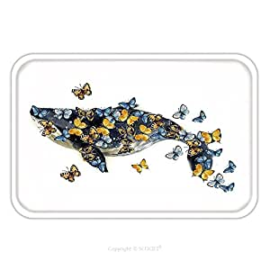 Franela de microfibra antideslizante suela de goma suave absorbente Felpudo alfombra alfombra alfombra de ballena ilustración dibujo con mariposas en el fondo blanco Watercolor dibujo 563274028para interior/ou