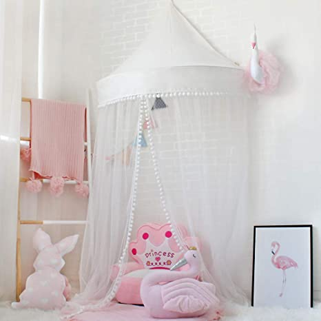 Amazon.com: Lebze Princess Girls Bed Canopy, Crib Canopy Dome Castle ...