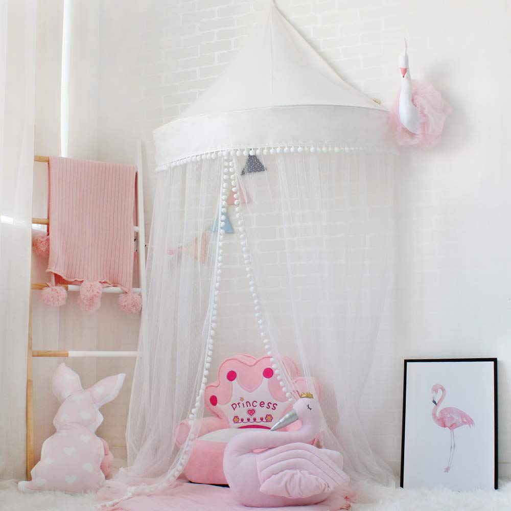 Lebze Princess Girls Bed Canopy, Crib Canopy Dome Castle, Fairy Net for Kids Bed, Kids Play Tent Castle, Reading Nook Canopy for Girls, Babies & Toddlers Diameter 100cm / 39.4inch