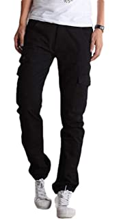 Cromoncent Men Casual Multiple Pockets Strings Jogging Sports Cargo Pants
