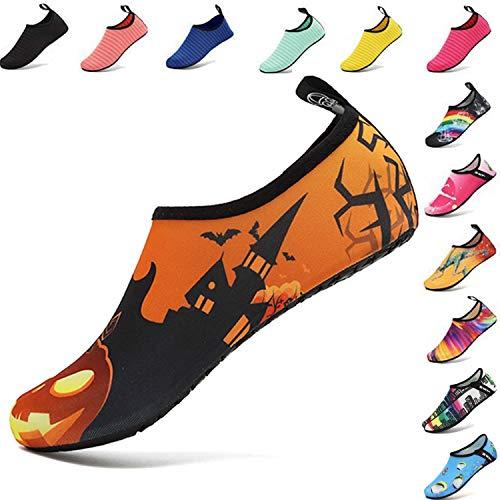 VIFUUR Water Sports Shoes Barefoot Quick-Dry Aqua Yoga Socks Slip-On for Men Women Kids Pumpkin Lantern-40-41 (Pumpkin Socks)