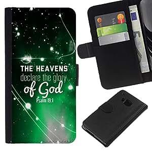 All Phone Most Case / Oferta Especial Cáscara Funda de cuero Monedero Cubierta de proteccion Caso / Wallet Case for HTC One M9 // BIBLE The Heavens Declare The Glory Of God - Psalm 19:1