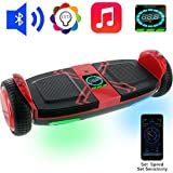 OSDRICH A8 Hoverboard with Bluetooth Speaker Self Balancing Scooter, LED Lights, Smart App Control (UL 2272 Certified) (Red)