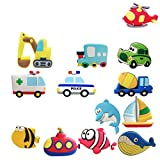 Fridge Magnets, Autien Cartoon Soft Rubber Magnets Cute Excavator, Ambulance, Police car, Truck, Plane, Sailing, Submarine, Dolphin, Shark, Fish Pattern Magnets For Kitchen Refrigerator Office Cabinet