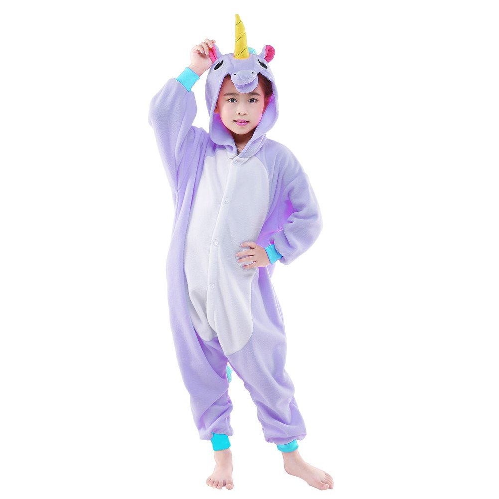 NEWCOSPLAY Unisex Children Unicorn Pyjamas Halloween Costume (5-Height 41-46'', Purple Unicorn) by NEWCOSPLAY