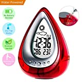 Jamal Alarm Clock Water Power Weather Station, Eco-Friendly Hydrodynamic Water Powered Digital Clock, Time Display and Temperature Measurement for Office Living Room Bedroom (Red)