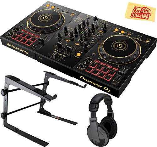 Pioneer DDJ-400-N Limited Edition 2-Deck Digital DJ Controller w/Rekordbox Software Bundle with Gearlux Laptop Stand, Headphones, and Austin Bazaar Polishing Cloth - Gold