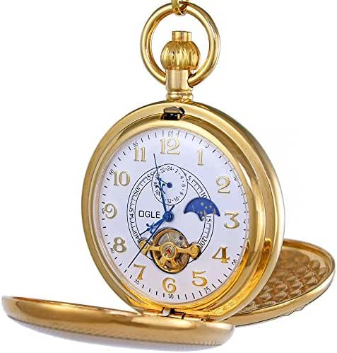 OGLE Vintage Copper Double Cover Tourbillon Phases Moon Chain Fob Self Winding Automatic Mechanical Pocket Watch