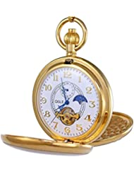 OGLE Vintage Copper Double Cover Tourbillon Phases Moon Chain Fob Self Winding Automatic Mechanical Pocket Watch...