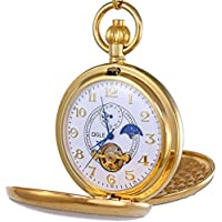 OGLE Vintage Copper Double Cover Tourbillon Phases Moon Chain Fob Self Winding Automatic Mechanical Pocket Watch/Gold Dial (White Dial)