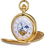 moon dial watch - OGLE Vintage Copper Double Cover Tourbillon Phases Moon Chain Fob Self Winding Automatic Mechanical Pocket Watch/Gold Dial (White Dial)