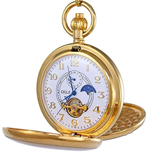 OGLE Vintage Copper Double Cover Tourbillon Phases Moon Chain Fob Self Winding Automatic Mechanical Pocket Watch/Gold Dial (White Dial) (Pocket Gold White Watch White)
