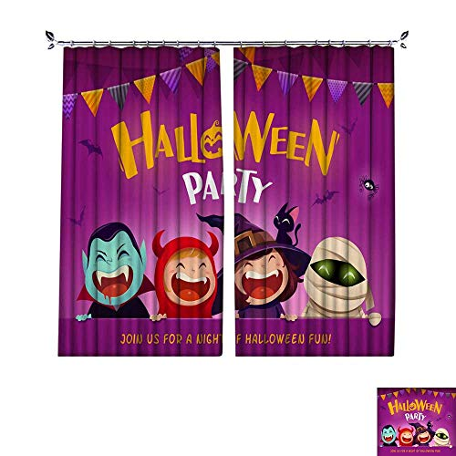 (DragonBuildingMaterials Decorative Curtains for Living Room Halloween Party Group of Kids in Halloween Costume with Big Signboard W108 x)