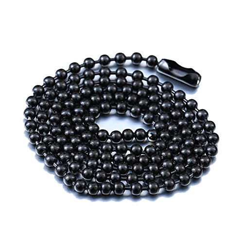 IFUAQZ Titanium Stainless Steel Bead Chain Necklace for Men Women Titanium Small Beads Ball Link Chains Black ()