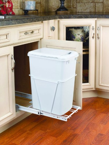 Rev-A-Shelf 35Qt Pull-Out Waste Bin with Lid White (Kitchen Under Counter Trash Can)