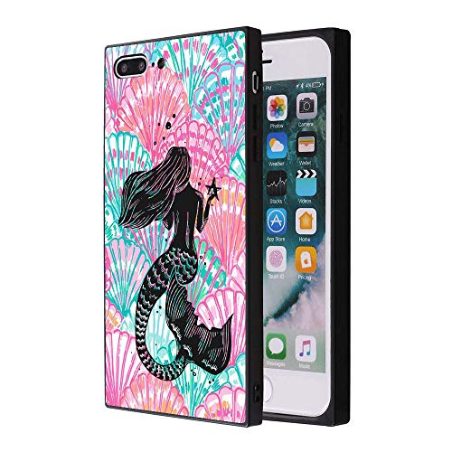 Mermaids and Scallops iPhone 7 Plus 8 Plus Case, Soft Flexible TPU Back Cover Rectangle Case Compatible with iPhone 7 Plus 8 Plus - Rectangle Scallop