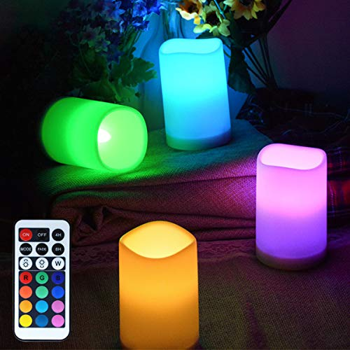 LAMPDREAM 4 Packs Battery Operated LED Candles Lights with Remote and Timer, Multicolor Changing Candles Lamp for Wedding, Christmas, Birthday, Valentine, Mother Day]()
