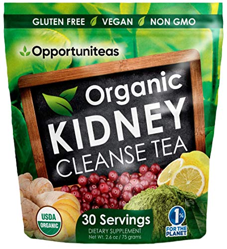 Organic Kidney Cleanse Tea - 4 Superfoods to Mix in Smoothie or Drink - Matcha Green Tea, Cranberry, Lemon, Ginger - Detox Health Supplement Powder - Vegan & Non GMO - 30 Servings (Best Herbal Tea For Kidneys)