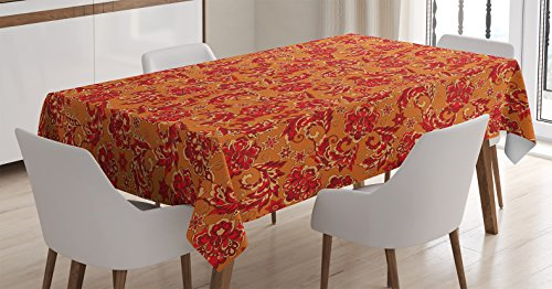 Ambesonne Batik Decor Tablecloth, Nostalgic Western European Medieval Renaissance Inspired Eastern Boho Pattern, Dining Room Kitchen Rectangular Table Cover, 60W X 84L inches, Red Orange