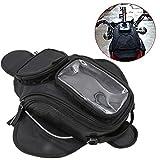 XJG 1PCS Black Oil Fuel Tank Bag Magnetic Motorcycle Motorbike Oil Fuel Tank Bag Saddle Bag W/Bigger Window (Color Black)