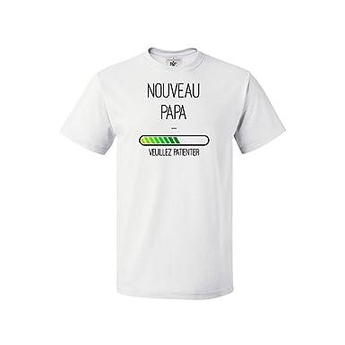 e5512d333b225 Mygoodprice T-shirt col rond enfant nouveau papa en cours chargement Blanc 3 -4