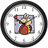 Easter Bunny on Easter Egg Easter Theme Wall Clock by WatchBuddy Timepieces (Black Frame)