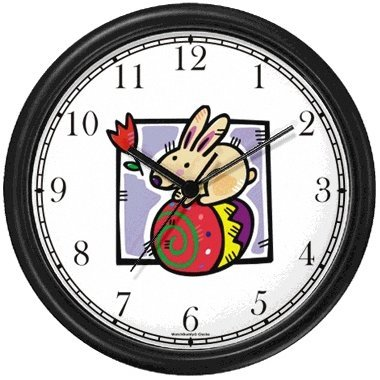 Easter Bunny on Easter Egg Easter Theme Wall Clock by WatchBuddy Timepieces (Black Frame) by WatchBuddy